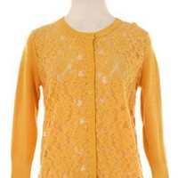 Girl Next Doorl Lace Panel 3/4 Sleeve Cardigan in Mustard | Sincerely Sweet Boutique