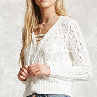 Lace-Up Open-Knit Sweater