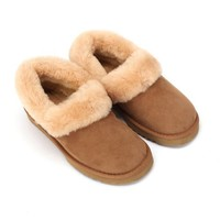 Sheep Touch Women's BALM Twin-Faced Australian Sheepskin Slippers Closed-Back Chestnut