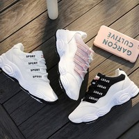 Fashionable sneaker female heighten little white shoe travel recreational shoe board shoe