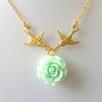 Love Necklace, Harry Necklace, Swallow Necklace, Tattoo Necklace, Gold Birds Mint Green Flower Rose Rockabilly Traveller Vintage Styles