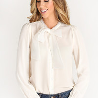 Shelby Cream Bow Tie Collar Blouse