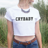 Crybaby Letters Print Women Summer Crop Top Short t shirt Sexy Slim Funny Top Tee Hipster Black White Drop Ship  ZT-2