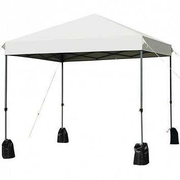 8'x8' Outdoor Pop up Canopy Tent  w/Roller Bag-White