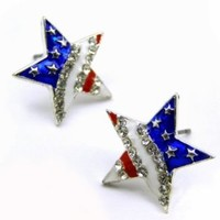 Patriotic Red White Blue American USA Us Flag Star Stud Post Pierced Earrings 4th of July Jewelry