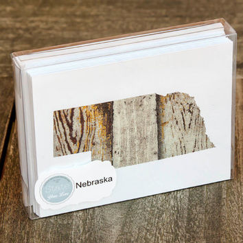 Nebraska or any US state shape map cutout wood texture photography blank note cards. Box/12. Die cut, Thank You, Country Chic, Rustic