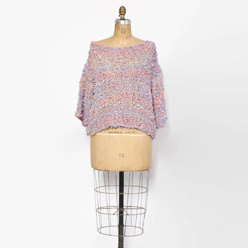 Vintage 80s Shaggy Knit Top / 1980s Draped Pastel Loose Fit Sweater