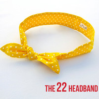 The 22 Headband yellow w/ white polka dot headband inspired by Taylor Swift and vintage fashion