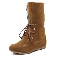 Suede Lace Up Wool Snow Boots