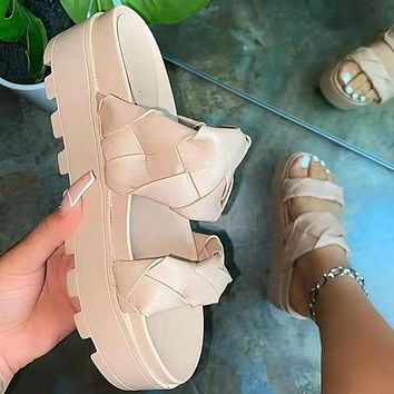 Women's shoes with a woven platform sole and a pedal platform sandals and slippers shoes