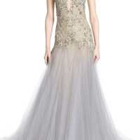 Marchesa Embroidered Lace & Tulle A-Line Gown | Nordstrom