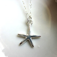 Silver Starfish Necklace Sterling Silver Chain - Wedding Jewelry - Bridesmaid Necklace - Bridesmaid Jewelry