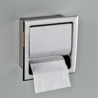 Free Shipping Stainless Steel Toilet Paper Holder Polished Chrome Wall Mounted Concealed Bathroom Roll Paper Box Waterproof