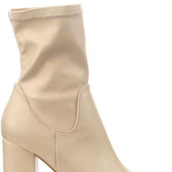 Victoria Ankle Boots - Nude