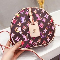 LV2020 fashion new round cake bag purple white print coffee