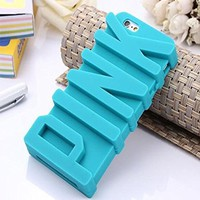 5S Case, JEPN 3D PINK big letters Silicone Case for the Apple iPhone 5 5S Blue