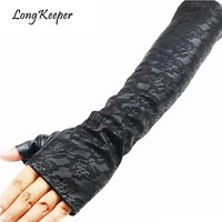 Long Keeper Brand Ladies Sexy Lace Elbow Long Sleeves Gloves Women Leather Gloves Half Finger For Party Gloves guantes mujer 203