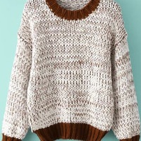 Brown and White Knitted Sweater