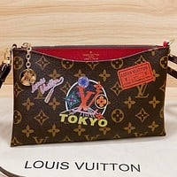 LV New fashion monogram print leather shoulder bag crossbody bag Coffee