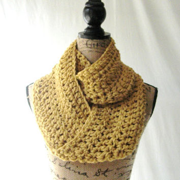 Ready To Ship Erin Mustard Gold Infinity Crochet Scarf Cowl Loop Circle Accessory