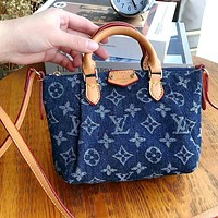 LV Embroidered Letter Denim Tote Bag Crossbody Bag