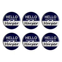 Harper Hello My Name Is Plastic Resin Button Set of 6