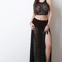 Self Tie Sheer Lace Maxi Skirt