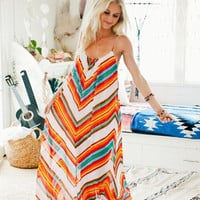 Colorful Striped Strap Backless Chiffon Dress