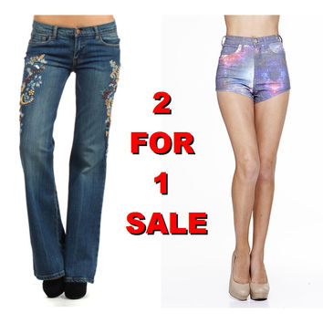 2 For 1: Denim Boot Cut Embroidered Jeans & Denim Galaxy Shorts