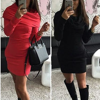 FASHION SOLID COLOR BODYCOM HOODED DRESS