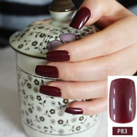 Dark Wine Red Fake Finger Nails Bent Flat Long Size Acrylic False Nails Pretty Design for daily wear easy DIY 24pcs R27-P83M