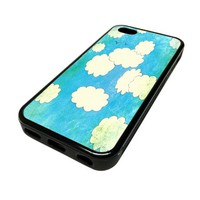 Apple Iphone 5 or 5s Case Cover Skin Baby Blue Cute Clouds Unique Design Black Rubber Silicone Teen Gift Vintage Hipster Fashion Design Art Print Cell Phone Accessories