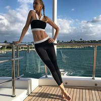 Beach Hot Comfortable Bralette Stylish Set Summer Sexy Fitness Workout Pants Vest [212031045658]