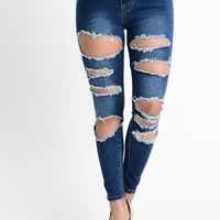 High Waisted Destroyed Skinny Jeans