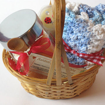 Bath & Body Bamboo Lotus Gift Basket, Woman's Spa Gift, One of a Kind