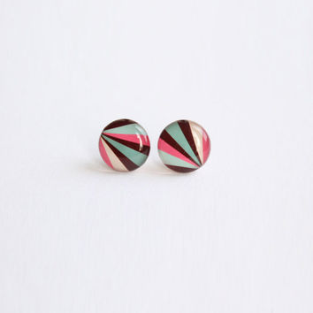10 mm small studs, small stud earrings, striped studs, striped earrings, striped posts, small posts, brown,  turquoise, pink