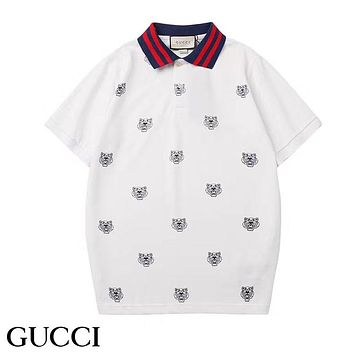 GUCCI New fashion more tiger print lapel couple top t-shirt White