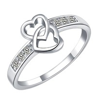 18K White Gold Plated Double Heart Crystal Pave Band Ring