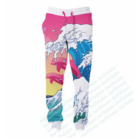 US Size Pink Fuji Dolphin Waves Men's String Jogger of 3D Sublimation Print Custom Made Clothing