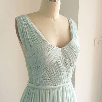 Prom Gown, Mint Chiffon Prom Dress, Straps V Neck Long Formal Dress Open Back, Wedding Party Dress, Floor Length Bridesmaid Gown