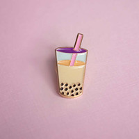 Bubble Tea Boba Enamel Pin Brooch lapel pin Sweet Tea Tapioca Milk Tea