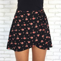 You & Me Floral Wrap Skirt in Black
