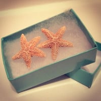 Aquamarine Starfish Earring by byElizabethSwan on Etsy