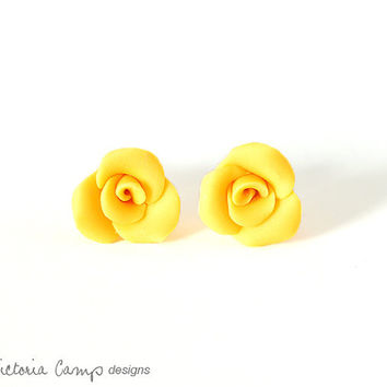Small Yellow Rose Earrings, Sterling Silver, Posts, Sunny, Summer, Wedding, Bridal, Handformed, Tiny, Petite, Flower
