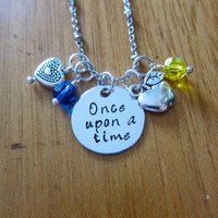 """Disney Inspired Princess Snow White Necklace. """"Once Upon A Time"""". Silver colored, Hand Stamped, Swarovski crystals. FREE shipping"""