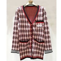 Plaid v-neck long-sleeved knitted cardigan coat for women