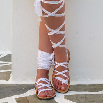 Lace up Sandals with white scarf laces