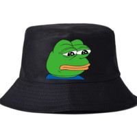 Summer Trendy Sad Meme Frog Print Bucket Hat Sport Cap