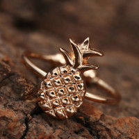 Unique Cute Plant Fruit Pineapple Joint Ring Tail Ring Opening Adjusted Ring