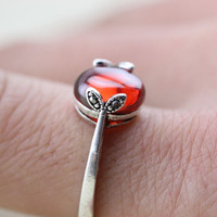 leaf ring with Ruby stone antique jewelry in silver Romantic gift